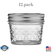 12 PACK 4 oz Quilted Crystal Mason Jars Set with Lids and Bands Regular Mouth
