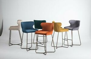 Bar Stool In Diamond Stitched | Fabric| Kitchen 6 Colours | NO CUSTOMS CHARGES