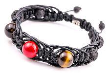 Amulet Arachna Handmade Men's Beaded Stone Bracelet Tiger's Eye Lava Coral