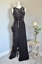 BNWT £85 NEXT chiffon lace maxi dress black front split occasion Evening dress 6