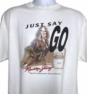 Vintage 1997 Rare Martha Josey NBHA Horse Barrel Racing T Shirt Large Rodeo