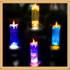 USB LED Glitter Flameless Candle Lights 7 Colors Changing Flickering Tea Light