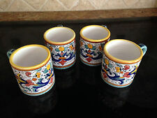 Deruta Majolica Italian Pottery - Ricco - Set of 4 MUGS -- New!