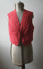 Vtg 70s 80s Dirndl folk hippy red white floral print cotton reversible waistcoat