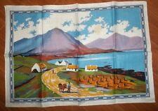 "Vintage Irish Scenery Made in Ireland Linen Tea Towel 31"" x 21"" Lake & Cottages"