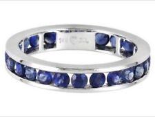 "Australian Blue Sapphire 2.07ctw Round 14k White Gold Eternity Band. ( 7"" )"