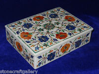 """8""""x 6""""x 2"""" Marble Jewelry Cabinet Box Real Lapis Inlay Marquetry Best Gifts"""