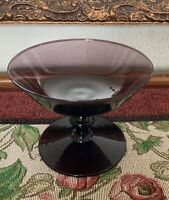 Vintage Amethyst Glass Pedestal Compote Candy Dish Bowl Art Glass