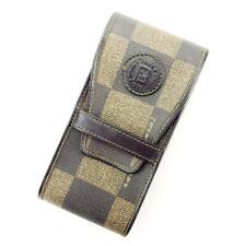 FENDI cigarette case block check beige PVC  leather  Used Auth T10362