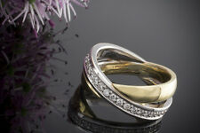 Schmuck Verschlungener Designer Ring Doppelring Brillanten in 585er Gold Bicolor