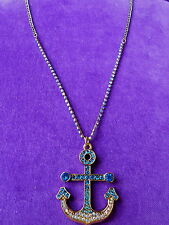 Betsey Johnson NWT Gold-Tone Crystal Anchor Pendant Necklace