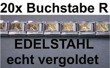20x Lettre R Plaqué or Acier Inox S'Adapter pour Bracelet Nomination