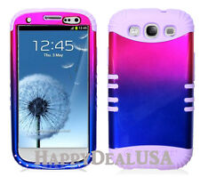 KoolKase Hybrid Silicone Cover Case for Samsung Galaxy S3 i9300 - Pink/Blue (TN)