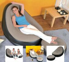 Deluxe Gonflable Chaise Longue Fauteuil avec Tabouret repose-pieds Lounge Siège Relax Canapé