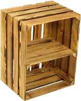 Large Wooden Burnt Crate Apple Box Storage Display Unit With Short Shelf.