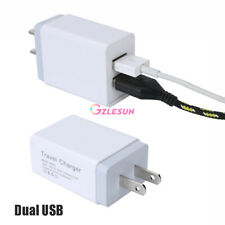 Dual 2 Port USB Portable Travel AC Plug 2.4A/5V Wall Charger Power Adapter White