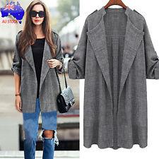 Womens V-neck Trench Coat Long Cloak Jackets Overcoat Waterfall Cardigan Suit Regular 2xl