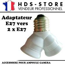 E27X2 ADAPTATEUR DUO DOUBLE DOUILLES POUR AMPOULE E27 VERS 2XE27