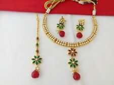 Indian Fashion Jewelry Necklace Earring Bollywood Ethnic Gold Traditional set