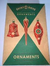Vintage  Christmas Ornaments Shiny Brite Box of Complete Western Germany