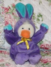 "13 1/2"" G.A.C. Vtg 1998 White Duck in Purple Velour Bunny Costume Stuffed Animal"