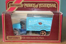 MATCHBOX MOY Y30 1930 MODEL AC MACK - ACORN STORAGE CO. MANHATTAN