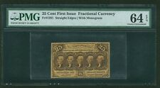 1862-63 25 CENTS FRACTIONAL CURRENCY FR1281 CERTIFIED PMG CHOICE UNCIRCULATED 64