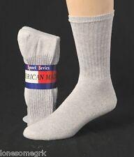 6 Pairs Mens Gray Sport Series Cotton Crew Socks Medium Weight  USA Made