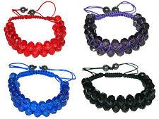 Red, Royal Blue, Purple or Black Shamballa Briolette Crystal Bracelet BB26