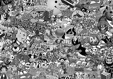 80'S B&W Stickerbomb sheet-x1 - 1m x 300mm (euro / Drift / JDM / CARTOON / VW)