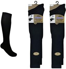 12 Pairs Mens Long Hose Socks 100% Cotton Knee High Ribbed Gold Style Black