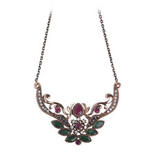 Turkish Antique Gold filled Necklace Wedding Indian Set Ethnic Lotus Flower