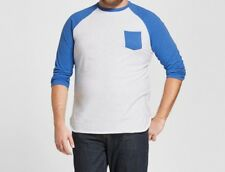 Mossimo Men's Blue Marker Striped Sleeves White Raglan Tee Shirt, Size XX-Large