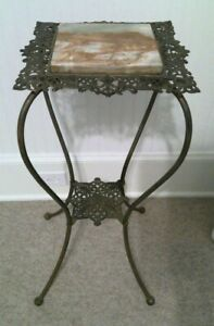 """VINTAGE Victorian Cast Brass Plant Fern Stand Ornate 28"""" Table with Marble Top"""