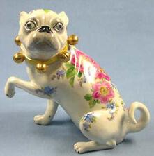 Mops mit Schellen  hund figur gemarkt pug hundefigur mopsfigur rosendeko,re
