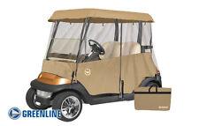 Drivable Premium 2 Person Golf Cart Cover Enclosure Tan + Bonus Seat Blanket