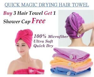 HAIR TURBAN TOWEL TWIST WRAP MICROFIBRE QUICK DRY COTTON HEAD BATH CAP Band HAT