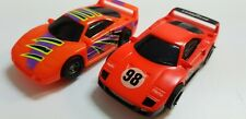 TYCO FERRARI F40 cosmic flyer & #98  PAIR 440X2 COMPLETE HO SLOT CAR .NICE! COOL