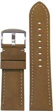 26mm Panatime Cork Soft Calf Leather Watch Band w White Stitching 26/24 125/75