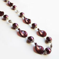 Handmade 67cm Chunky Purple Glass Bead Necklace