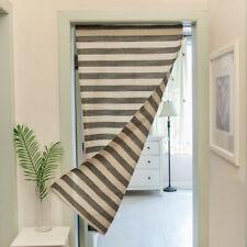 Stripe Print Door Curtion Cotton Linen Kitchen Bathroom Bedroom Doorway Curtains