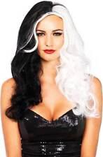 Cruella Deville Two Tone Wavy Long Hair Diva Wig Costume Accessory Adult Women