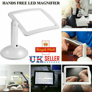 LED Magnifying Glass Stand With Light Lamp Hands Free Magnifier Foldable Clamp