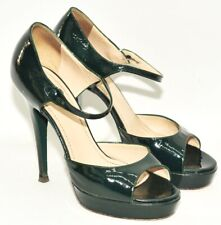 GREAT YSL YVES SAINT LAURENT BOTTLE GREEN PLATFORM STRAPPY HEELS 3.5 UK 36.5 EU