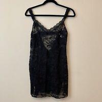 Victoria Secret Chemise Negligee Lingerie Nightgown Black Lace Stretch M