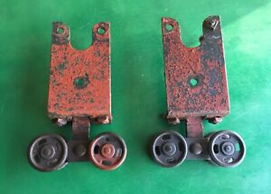 Antique Pair BARN DOOR ROLLERS OLD TROLLEY WHEELS RARE STYLE