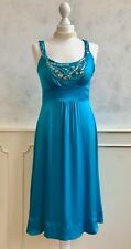 MONSOON Teal 100% SILK Turquoise Art Deco Beaded Jewel Summer Occasion Dress S 8