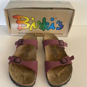 Birkenstock Birki's Sandals Belmont Birkibuc Berry Size US 8 Euro 39 2 Strap EUC