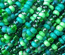 "Czech Glass Seed Beads Mixture Size 6/0 "" GRASS GREEN "" Strands"