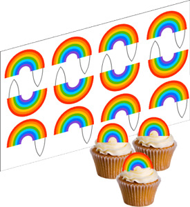 Rainbow Cupcake Edible Decoration Wafer Paper 12 UNCUT Stand Up Toppers